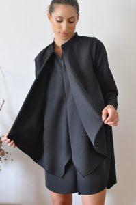 vestido Elis preto curto detalhe
